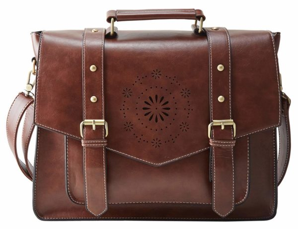 ECOSUSI Women's Briefcase Messenger Laptop Bag PU Leather Satchel Work Bags Fits