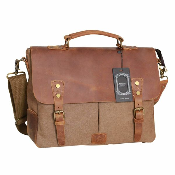 WOWBOX Messenger Bag Satchel Vintage Canvas Leather