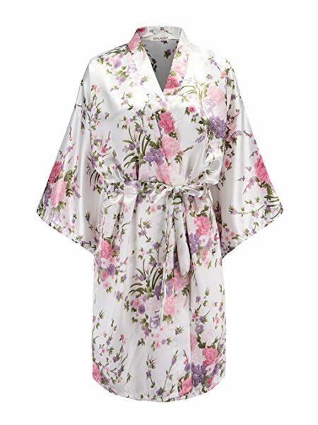 EPLAZA Floral Satin Robe
