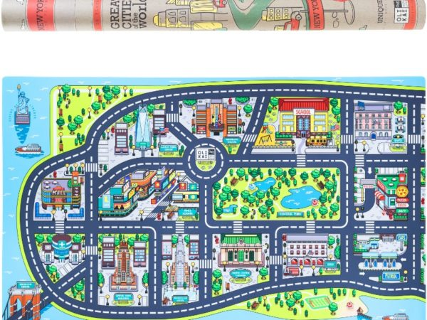 Road and Car Rug Map of New York City
