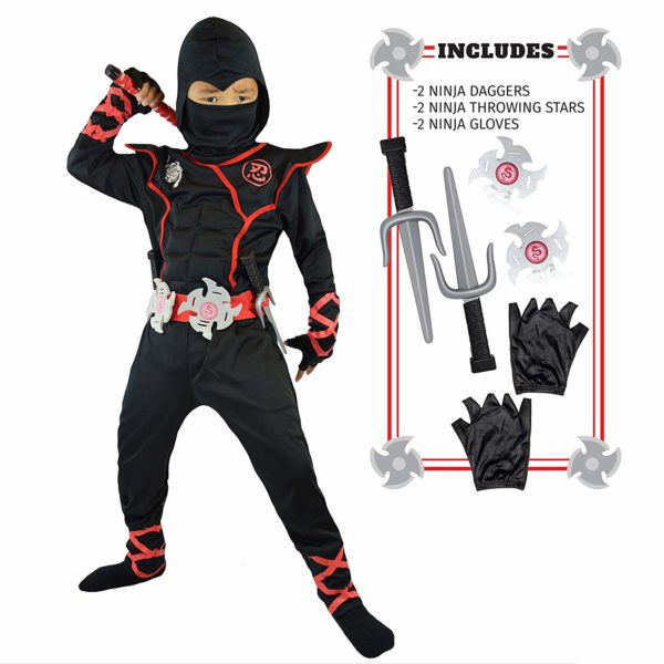 Spooktacular Creations Boys Ninja Deluxe Costume for Kids with Ninja Daggers and Throwing Stars
