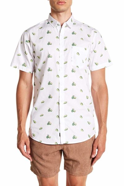 Printed Short Sleeve Button Down Shirt