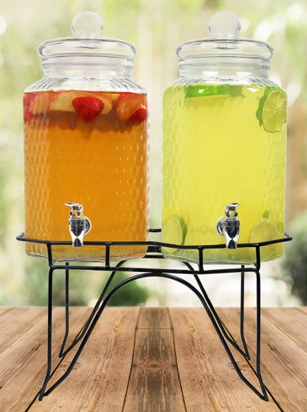 Estilo Hammered Glass Double Beverage Drink Dispenser