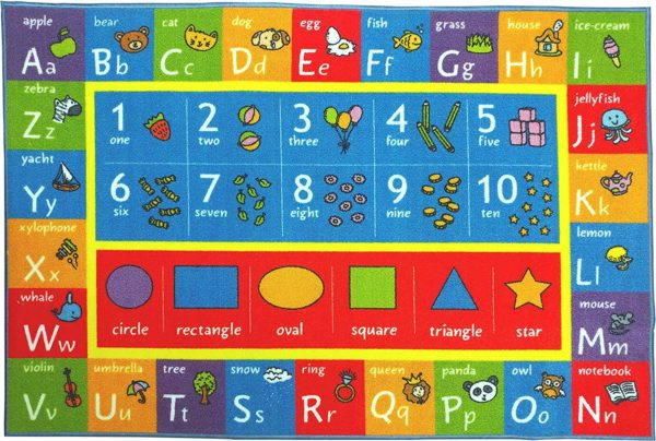 ABC, Numbers and Shapes Educational Area Rug