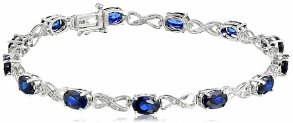 Sterling Silver Created Gemstone and Diamond Infinity Bracelet