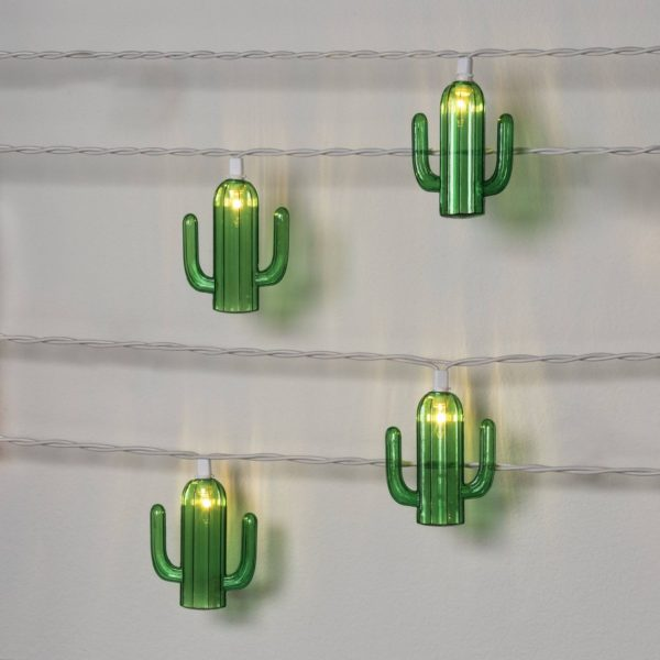 10ct Cactus String Lights Green - Sun Squad™