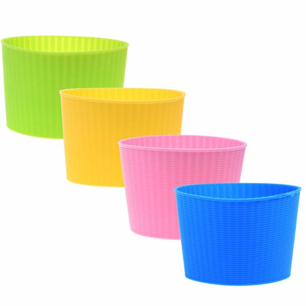 COMOS Pack of 4 Assorted Colors Heat-resistant Silicone Coffee Cup Sleeve