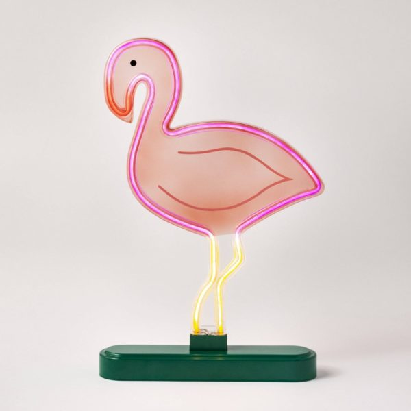 Faux Neon Tabletop Flamingo Sign