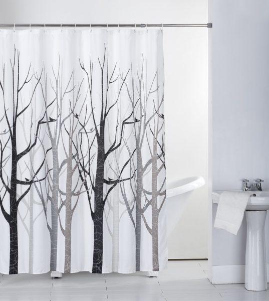 Grey Tree with Hooks Bath Curtain
