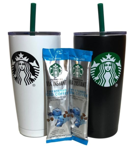 Holiday Starbucks Tumbler Gift Set Bundle With VIA Instant Sweetened Iced Coffee Packets