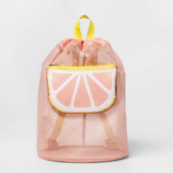 Mesh Cinch Bag With Grapefruit Pocket Pink