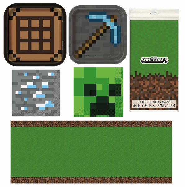 Minecraft Party Table Decorations Dinnerware Bundle