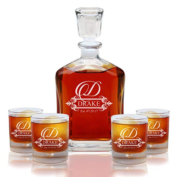 Personalized Five Piece Whiskey Decanter Set