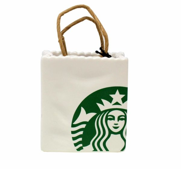 Starbucks 2018 Limited Ceramic Tote Holiday Christmas Tree Ornament