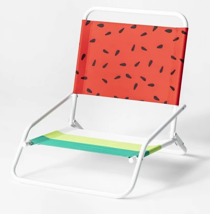 Watermelon Print Beach Sand Chair Red/Green - Sun Squad™