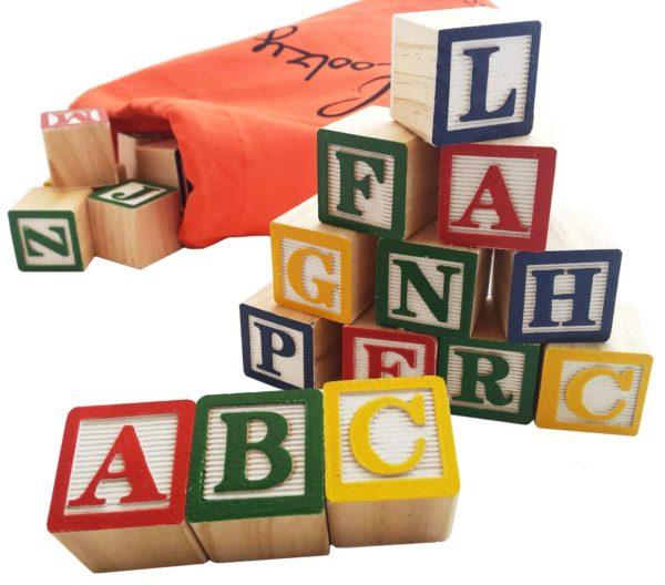 Skoolzy 30 Wood Alphabet Blocks