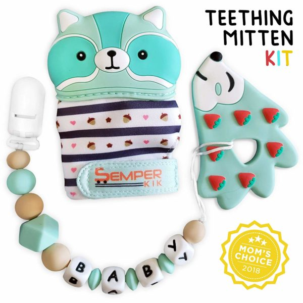 Teething Mitten for Babies + Silicone Teether with Pacifier Clip Holder