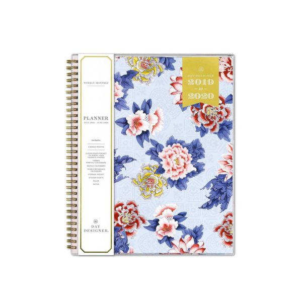 "2019-2020 Academic Planner 8.5""x 11"" Blue/Pink Floral - Day Designer for Blue Sky"