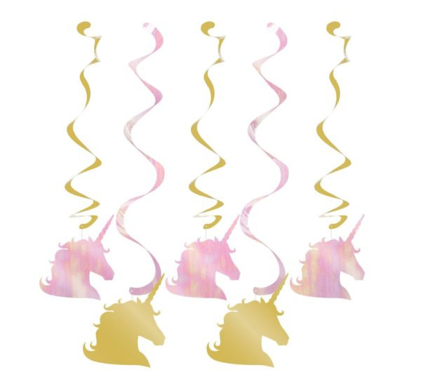5ct Creative Converting Sparkle Unicorn Dizzy Danglers