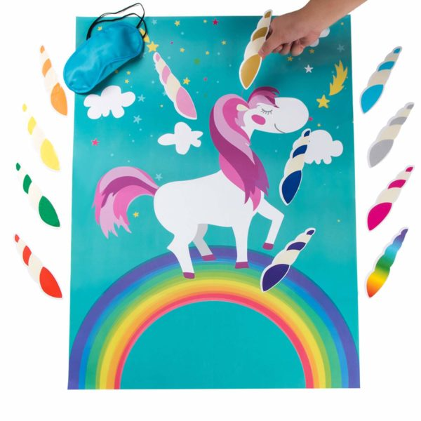 Pin The Horn on The Unicorn Birthday Party Game