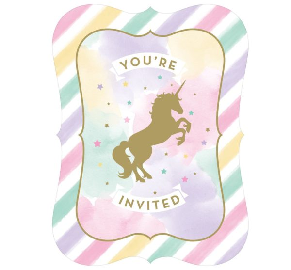 8ct Creative Converting Sparkle Unicorn Invitations