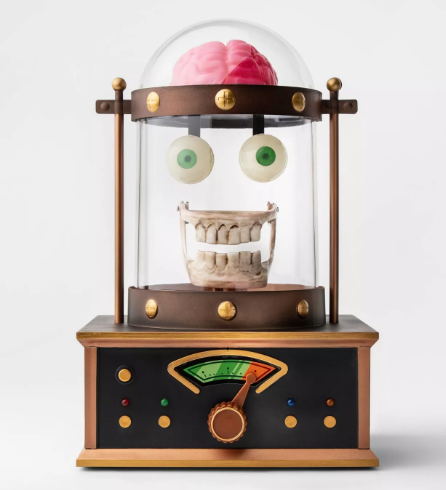 Animated Taking Skull in Cloche Halloween Décor - Hyde & EEK! Boutique™