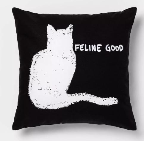 """Feline Good"" Square Throw Pillow Black/White - Room Essentials™"