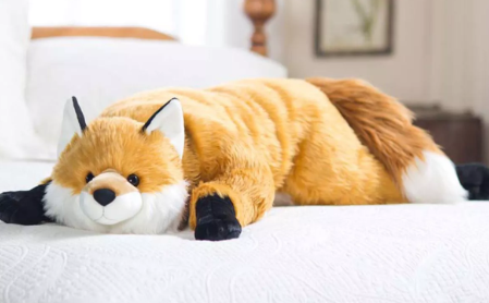 """Fuzzy Fox Giant Plush Body Pillow With Soft Dense Fur & Weighted Paws, 48""""L - Plow & Hearth"""