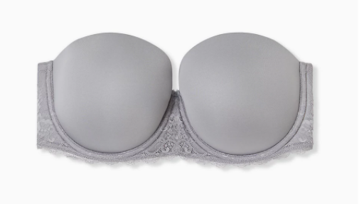 Grey Microfiber & Lace Lightly Lined Multiway Strapless Bra