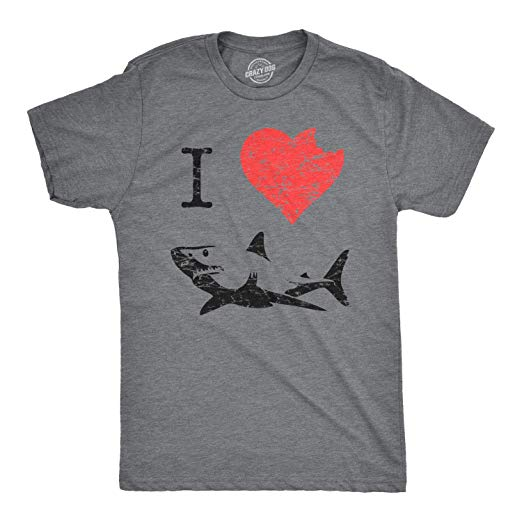 I Love Sharks T Shirt Heart Classic Shark Bite