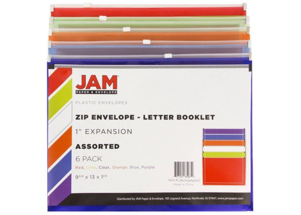 JAM Paper 6pk Plastic Envelopes with Zipper Closure, Letter