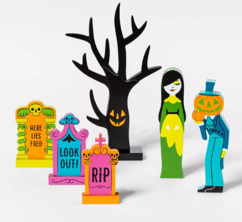 Mini Mantle Neon Characters and Gravestone Halloween Accessory Set - Hyde & EEK! Boutique™