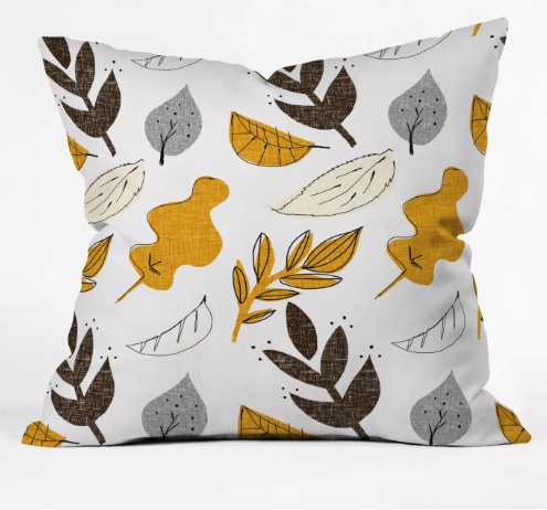 Mummysam Fall Leaves Throw Pillow Light Gold - Deny Designs