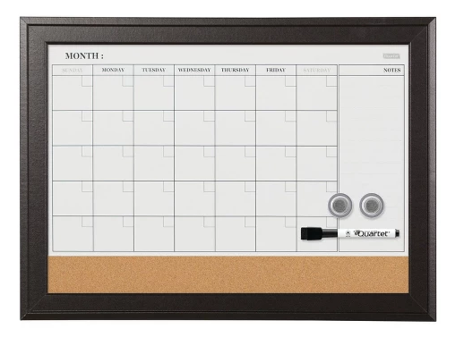 "Quartet 17"" x 23"" Magnetic Combination Calendar Board Dry-Erase & Cork, 1-Month Design, Brown Frame"