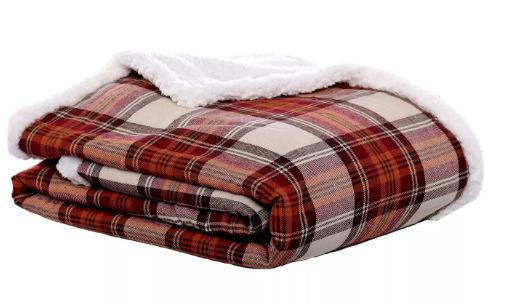 "Red Edgewood Plaid Flannel Sherpa Throw (50""X60"") - Eddie Bauer®"