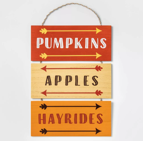 Pumpkins, Apples, Hayrides Hanging Wood Sign - Spritz™