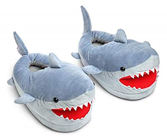 Chomping Shark Plush Slippers for Grown Ups