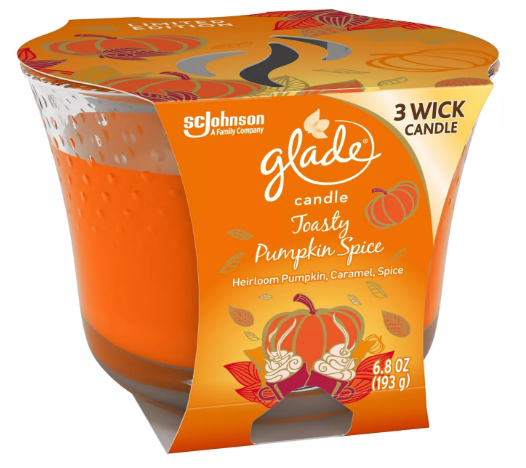 Glade Candle- Toasty Pumpkin Spice - 6.8oz