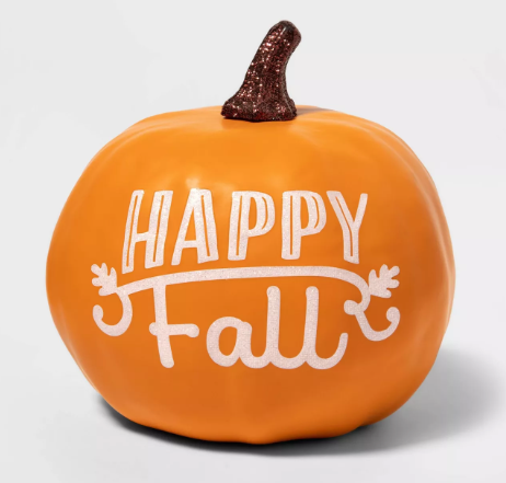 """Happy Fall"" Painted Harvest Pumpkin Small Orange - Spritz™"