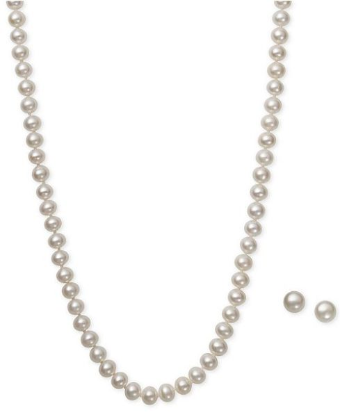 Macy's White Cultured Freshwater Pearl (6mm) Necklace and Matching Stud (7-1/2mm) Earrings Set in Sterling Silver