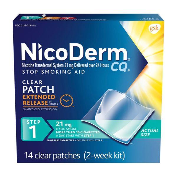 NicoDerm CQ Nicotine Patch, Clear