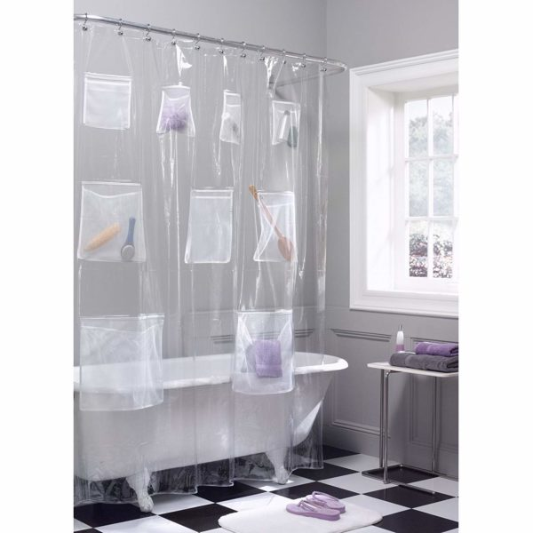 Maytex Shower Curtain w/ Mesh Pockets