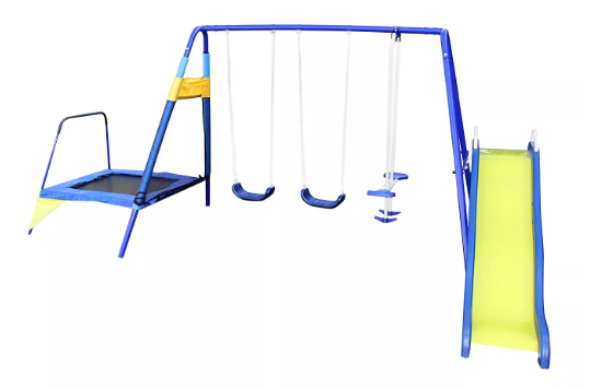 Sportspower Almansor Metal Swing, Slide, and Trampoline Set