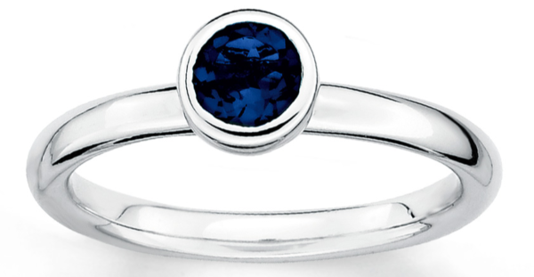 Stackable Ring Lab-Created Sapphire Sterling Silver