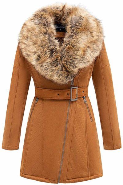 Bellivera Women's Faux Suede Long Jacket with Detachable Faux Fur Collar