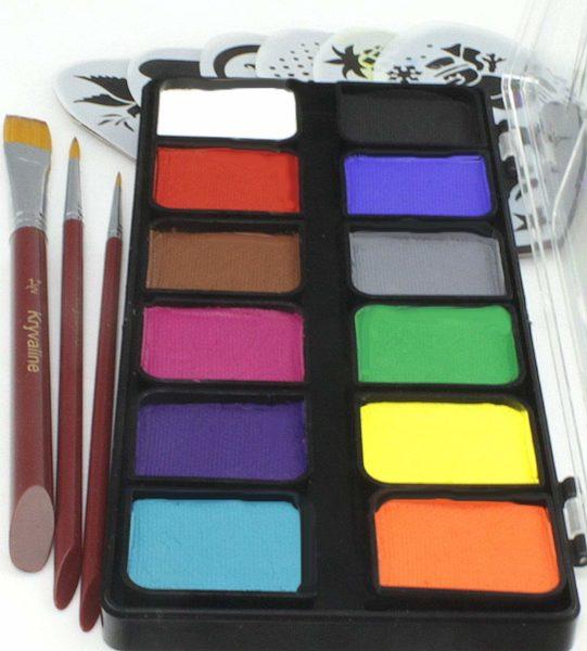 Face Paint Kit Kryvaline Professional 12 Large Square Colors