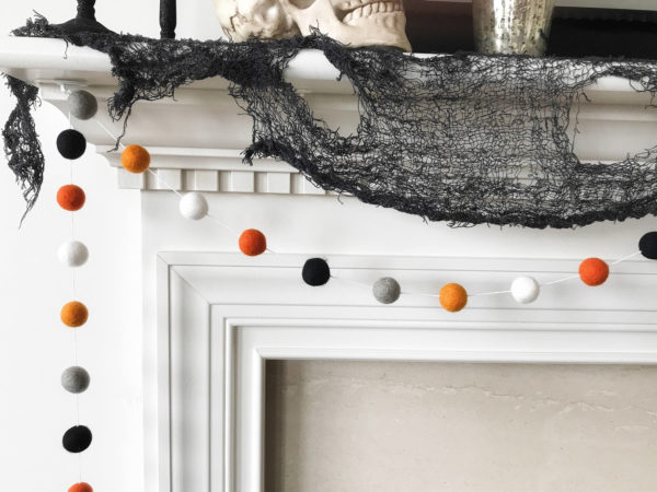 Halloween Garland, Orange Grey and Black Felt