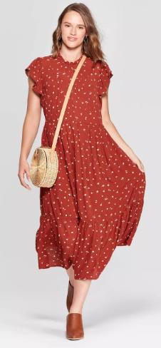 Women's Floral Print Sleeveless High Crewneck Midi Dress - Universal Thread™ Rust