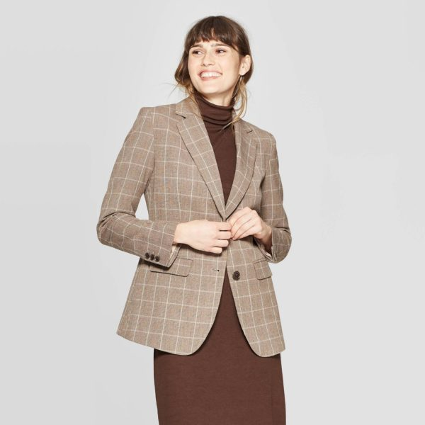 Women's Plaid Long Sleeve Button-Front Bi-Stretch Twill Blazer - A New Day™ Brown