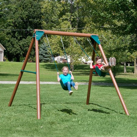 Equinox Wooden Swing Set with Two Swings